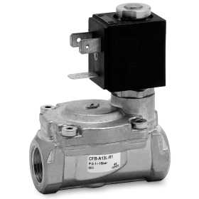 Indirectly operated 2/2 NO solenoid valve
